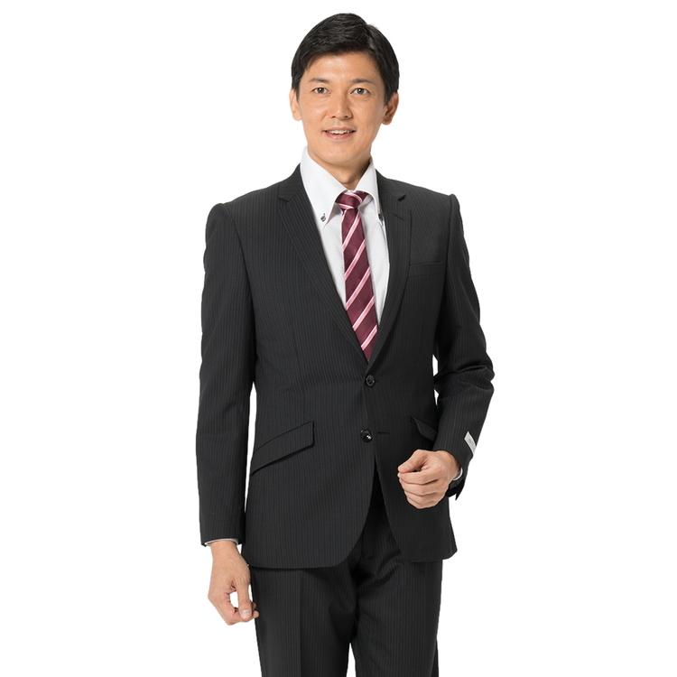 スーツ メンズ 背広 メンズスーツ 2つボタン 2ピース ノータック ストレッチ ヘリンボン ブラック 秋冬 ウール混 スリム スーパースリム RESPECTNERO リスペクトネロ メンズファッション スーツのはるやま