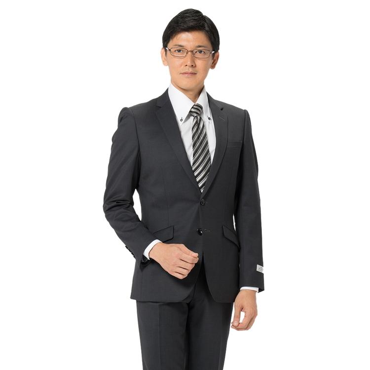 スーツ メンズ 背広 メンズスーツ 2つボタン 2ピース ノータック ストレッチ 小柄 グレー 秋冬 ウール混 スリム スーパースリム RESPECTNERO リスペクトネロ メンズファッション スーツのはるやま