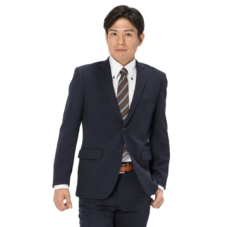 スーツ メンズ 背広 メンズスーツ 2つボタン 2ピース 防シワ ノータック ストライプ ネービー 秋冬 ポリエステル スタンダード Fusion Club フュージョンクラブ メンズファッション スーツのはるやま