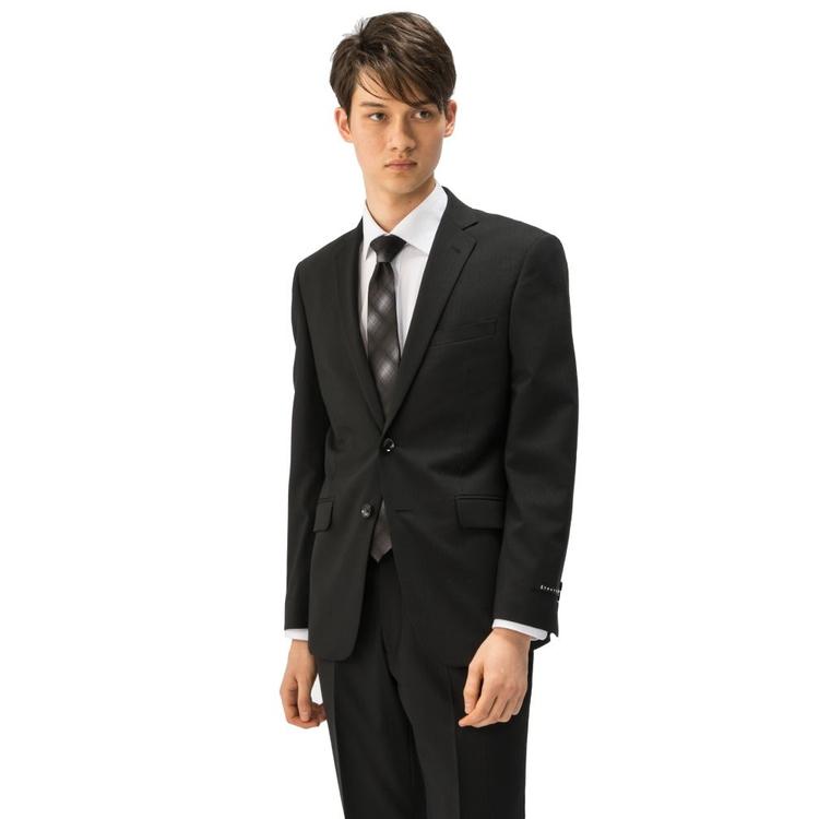スーツ メンズ 背広 メンズスーツ 2つボタン 2ピース ノータック コード ブラック 春夏 ウール混 スリム アンクルパンツ RESPECTNERO リスペクトネロ メンズファッション スーツのはるやま
