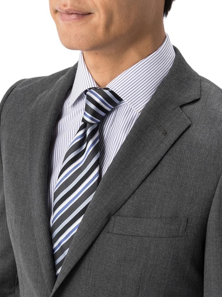 スーツ/2つボタン/2ピース/グレー/織柄無地/スタンダード/Fusion Club/ノータック/防シワ/
