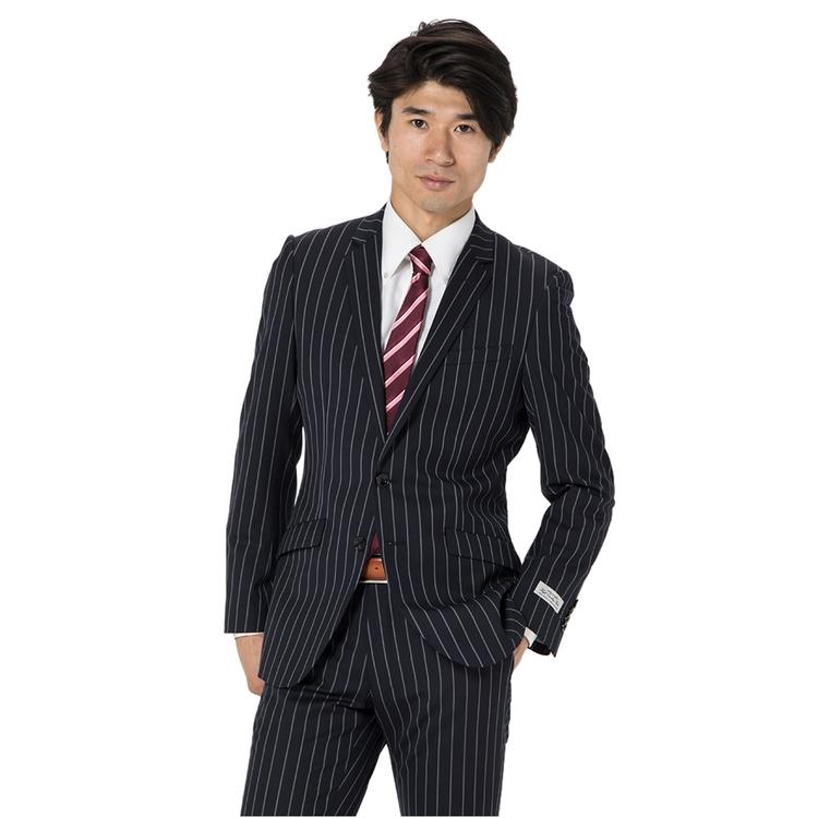 スーツ メンズ 背広 メンズスーツ 2つボタン 2ピース ノータック ストレッチ ストライプ ネービー 秋冬 ウール スリム スーパースリム RESPECTNERO リスペクトネロ メンズファッション スーツのはるやま