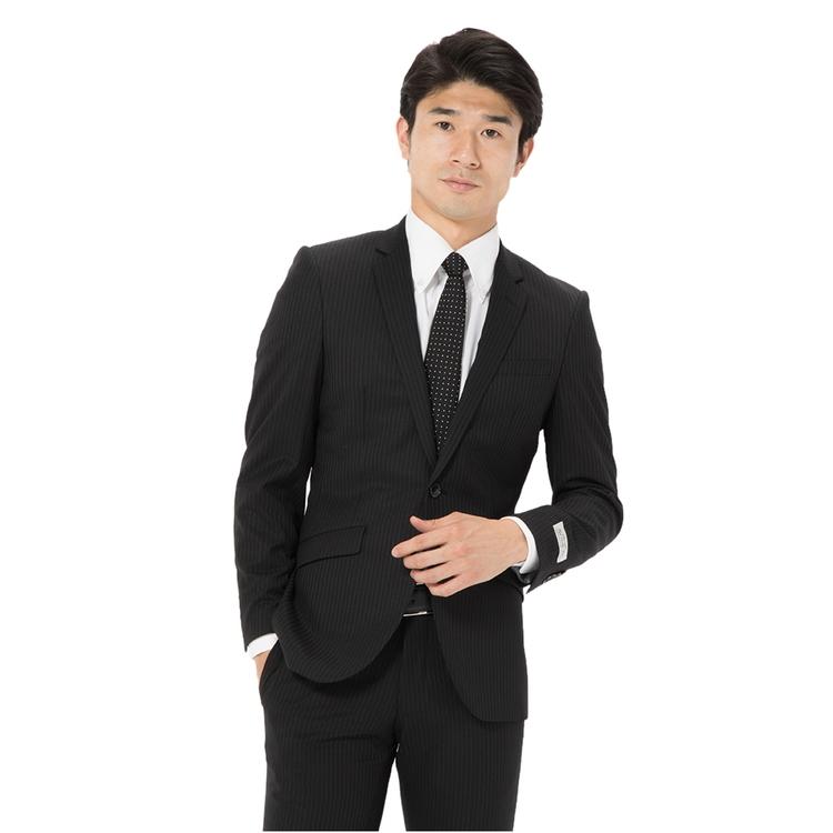スーツ メンズ 背広 メンズスーツ 2つボタン 2ピース ノータック ストレッチ ストライプ ブラック 秋冬 ウール スリム スーパースリム RESPECTNERO リスペクトネロ メンズファッション スーツのはるやま
