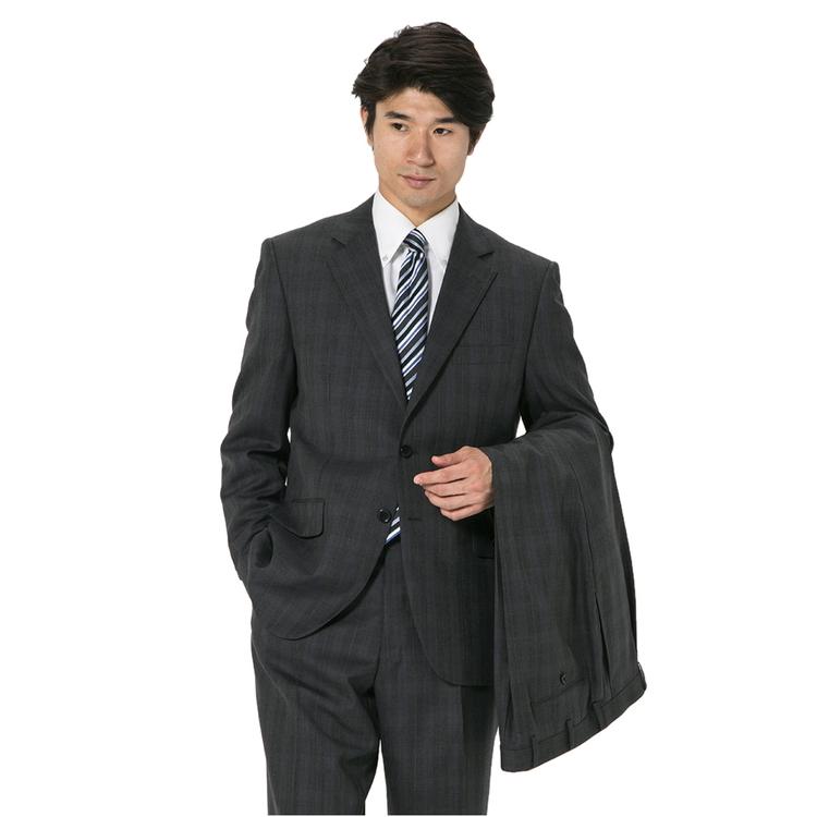 スーツ メンズ 背広 メンズスーツ 2つボタン 2ピース ツーパンツ 上下ウォッシャブル ワンタック 防シワ チェック グレー 秋冬 ウール ゆったり REGENTHOUSE リージェントハウス メンズファッション スーツのはるやま
