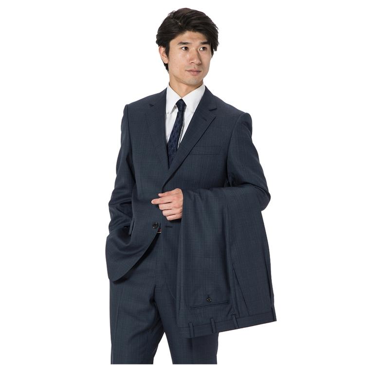 スーツ メンズ 背広 メンズスーツ 2つボタン 2ピース ツーパンツ 上下ウォッシャブル ワンタック 防シワ チェック ネービー 秋冬 ウール ゆったり REGENTHOUSE リージェントハウス メンズファッション スーツのはるやま