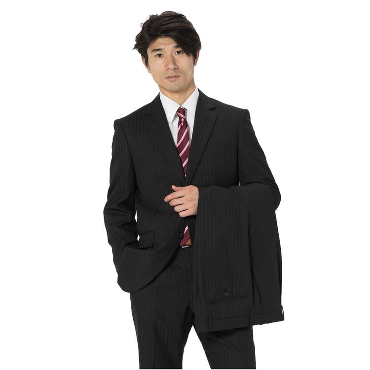 スーツ メンズ 背広 メンズスーツ 2つボタン 2ピース ツーパンツ 上下ウォッシャブル ワンタック 防シワ ストライプ ブラック 秋冬 ウール ゆったり REGENTHOUSE リージェントハウス メンズファッション スーツのはるやま