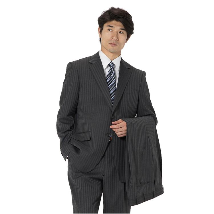 スーツ メンズ 背広 メンズスーツ 2つボタン 2ピース ツーパンツ 上下ウォッシャブル ワンタック 防シワ ストライプ グレー 秋冬 ウール ゆったり REGENTHOUSE リージェントハウス メンズファッション スーツのはるやま