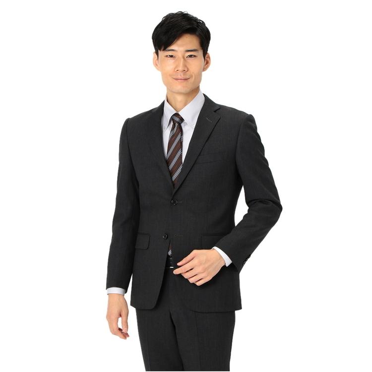 スーツ メンズ 背広 メンズスーツ 2つボタン 2ピース 防シワ ノータック 織柄無地 グレー 秋冬 ウール スタンダード Fusion Club フュージョンクラブ メンズファッション スーツのはるやま