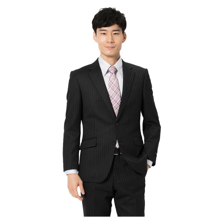 スーツ メンズ 背広 メンズスーツ 2つボタン 2ピース 軽量 ノータック ストライプ グレー 秋冬 ウール スリム RuckenBaccharBlackface ブラックフェイス コンフォート メンズファッション スーツのはるやま