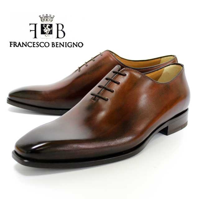 FRANCESCO BENIGNO フランチェスコベニーニョ 3607 BROWN ホールカット ビジネスシューズ ブラック 茶 レザーソール マッケイ メンズ 本革 革靴 靴 ビジネス 紳士靴 ドレスシューズ イタリア製 送料無料