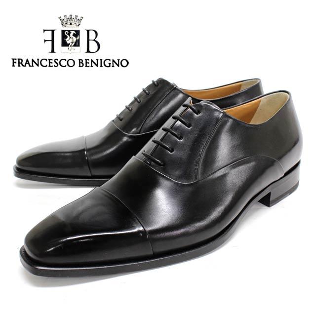 FRANCESCO BENIGNO フランチェスコベニーニョ 3608 NERO 内羽根 ストレートチップ ビジネスシューズ ブラック 黒 レザーソール マッケイ メンズ 本革 革靴 靴 ビジネス 紳士靴 ドレスシューズ イタリア製 送料無料