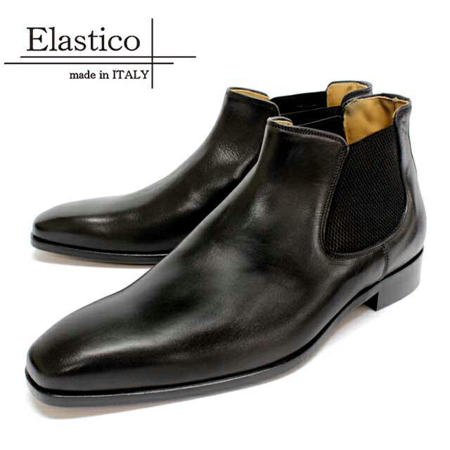Elastico エラスティコ 72-01 NERO ブラック サイドゴアブーツ ショートブーツ 本革 革靴 黒色 メンズ ビジネスシューズ ドレスシューズ カジュアル ビジカジ 紳士靴 イタリア製【送料無料】