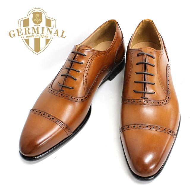 GERMINAL-germinal 8502 CAMEL (Brown) leather shoes men's dress business  shoes straight chip Brown in blades formal wedding punching = = 10P08Feb15