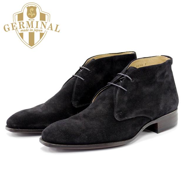 GERMINAL ジェルミナル 8510 BLACKSUEDE ブラック スウェード スエードチャッカブーツ 本革 革靴 黒 メンズ ショートブーツ ハービーズ harvys【送料無料】【日本製】