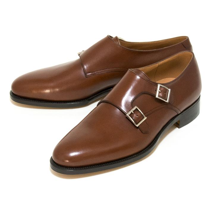 【送料無料】【日本製】【九分仕立て】IDATEN モンクストラップ(プレーン) ダブルモンク 本革 ビジネスシューズ ブラウン 革靴 茶 メンズ 通販 harvys ハービーズ