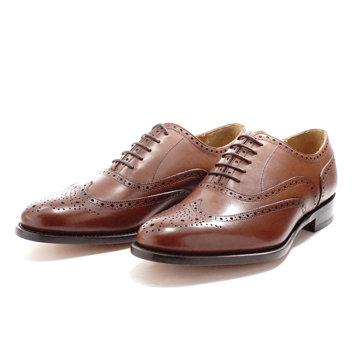 【送料無料】サンプル品 アウトレットセール メンズ ウイングチップ メダリオン 内羽根 ビジネスシューズ ドレスシューズ 紳士靴 革靴 BROWN ブラウン サイズ7.5inch(25.5cm)