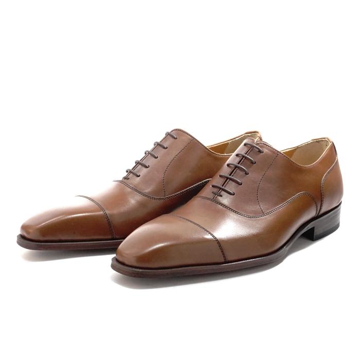 【送料無料】サンプル品 アウトレットセール メンズ ストレートチップ 内羽根 ビジネスシューズ ドレスシューズ 紳士靴 革靴 BROWN ブラウン サイズ7.5inch(25.5cm)
