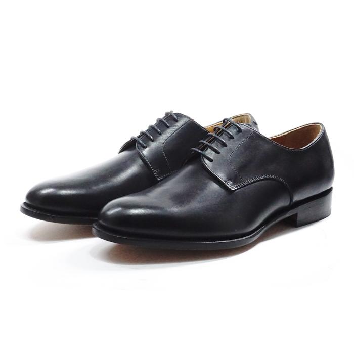 【送料無料】サンプル品 アウトレットセール メンズ プレーントゥ 外羽根 ビジネスシューズ ドレスシューズ 紳士靴 革靴 BLACK ブラック サイズ7.5inch(25.5cm)