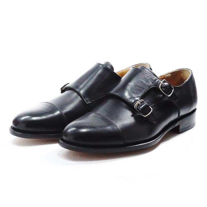 【送料無料】サンプル品 アウトレットセール メンズ ストレートチップ ダブルモンクストラップ ビジネスシューズ ドレスシューズ 紳士靴 革靴 BLACK ブラック サイズ7.5inch(25.5cm)
