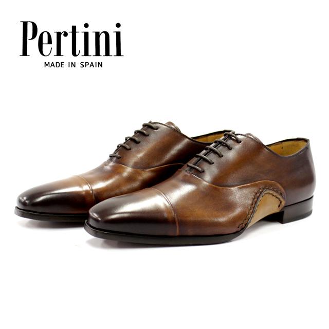 Pertini ペルティニ 22770 CASTAGNO ブラウン ストレートチップ 内羽根 メンズ ビジネスシューズ 本革 革靴 革底 レザーシューズ ドレスシューズ 紳士靴 マッケイ スペイン製【送料無料】
