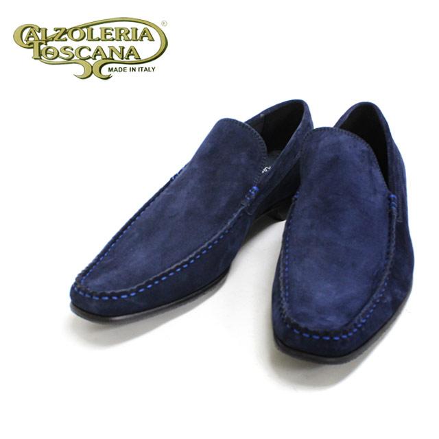 Calzoleria Toscana カルツォレリア トスカーナ4177(BLUE DISCO:ブルー スエード)スリッポン スクエアトゥ 青色 本革 革靴 革底 メンズ 【送料無料】【イタリア製】
