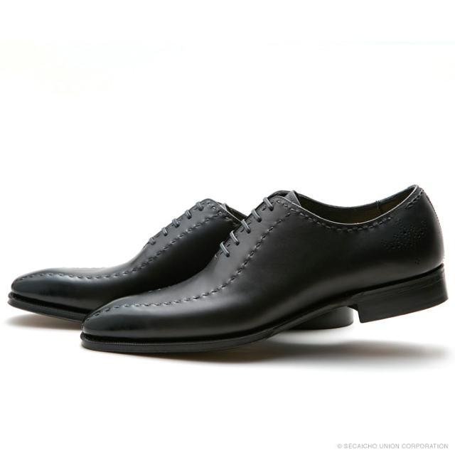 UNION IMPERIAL ユニオン・インペリアル プレステージ U1102 BLACK 黒 ホールカット メダリオン ドレスシューズ レザーソール メンズ 紳士靴 ビジネスシューズ 本革 革靴 靴 日本製【送料無料】