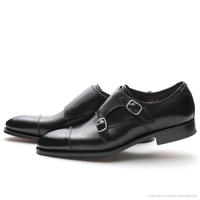 UNION IMPERIAL ユニオン・インペリアル プレステージ U1105 BLACK 黒 ドレスシューズ ストレートチップ ダブルモンクストラップ レザーソール メンズ 紳士靴 ビジネスシューズ 本革 革靴 靴 日本製【送料無料】