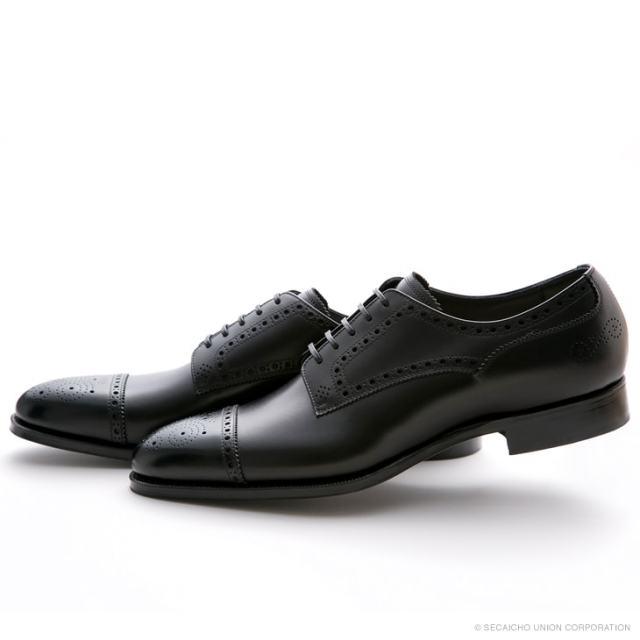 UNION IMPERIAL ユニオン・インペリアル プレミアム U1541 BLACK 黒 外羽根 ストレートチップ パンチング ドレスシューズ メンズ 紳士靴 ビジネスシューズ 本革 革靴 靴 日本製【送料無料】