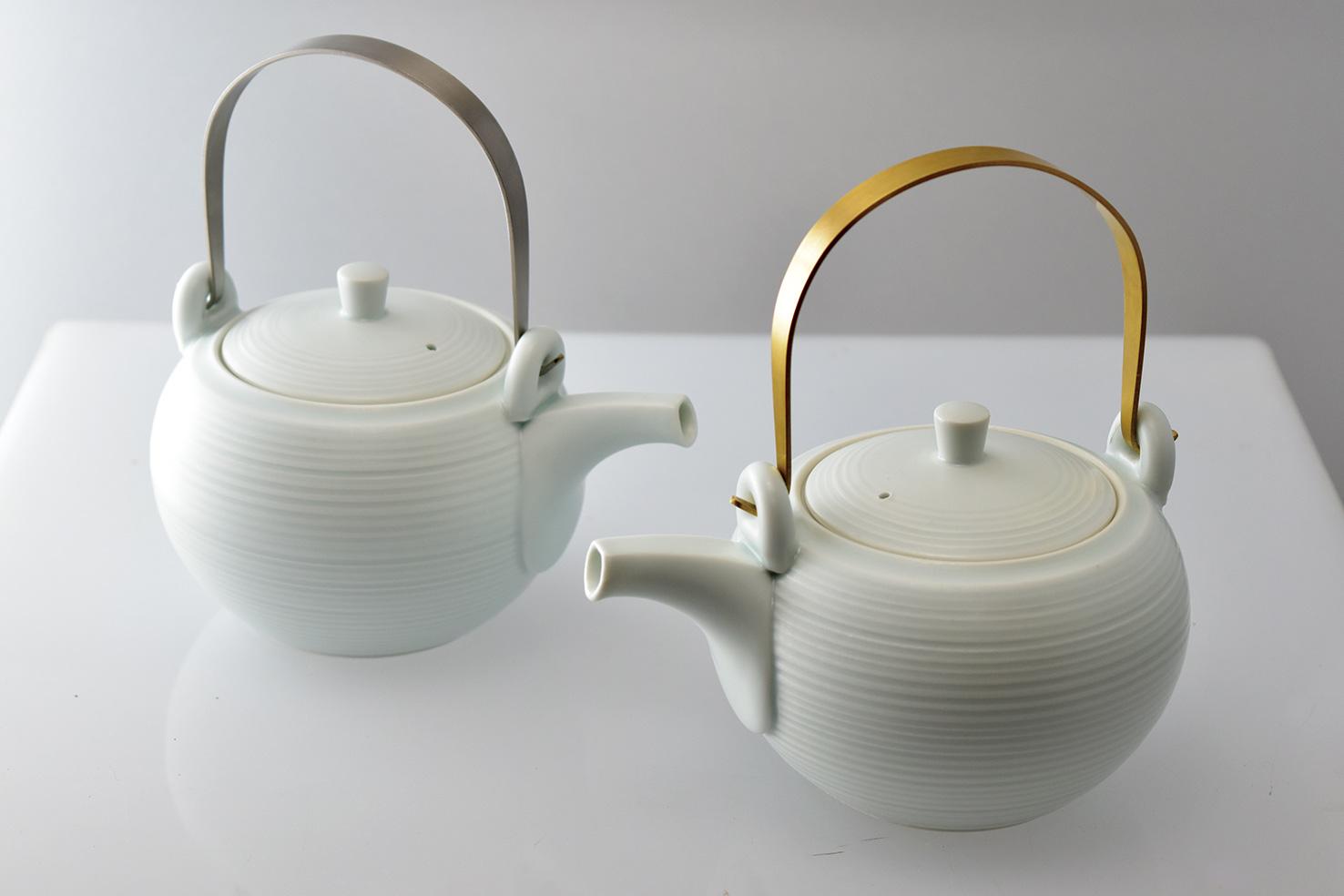 土瓶 急須(極みの茶器)千段 母の日 プレゼント 新茶 陶器 磁器 食器 茶器 メタルハンドル ステンレス