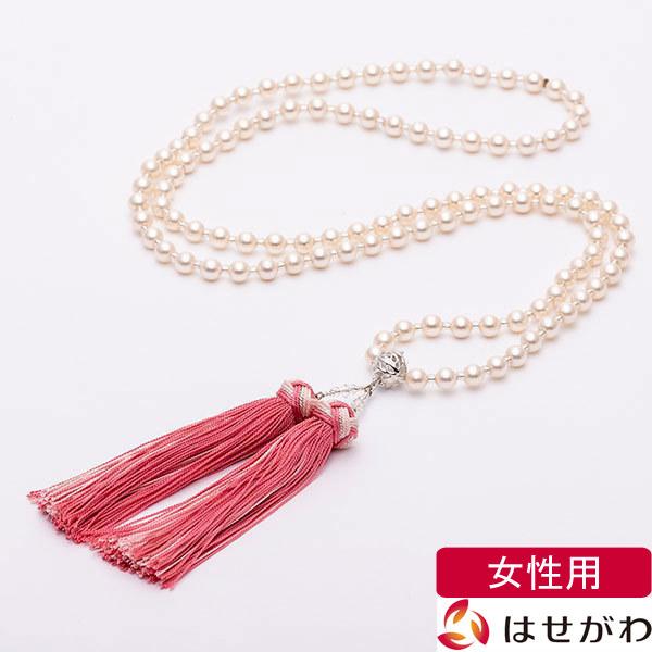 【イーグルス感謝祭!P5倍】数珠 ネックレス【ネックレス念珠 貝パール ホワイト】はせがわ