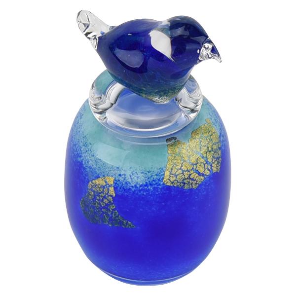 骨壺 ミニ骨壺 分骨 分骨壺 手元供養 ペット 骨壺 ガラス【吹きガラス アッシュボトル 鳥】はせがわ