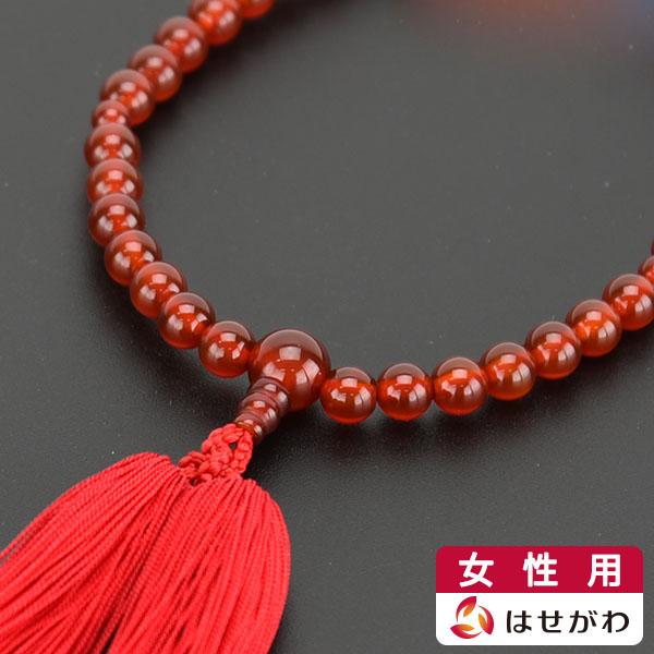 深みのある茜色が印象的な、赤メノウを使用したお数珠です。 【イーグルス感謝祭!P5倍】数珠 女性用 数珠 女性 数珠 瑪瑙 赤瑪瑙【赤メノウ 弥勒房 共玉 尺2玉】はせがわ