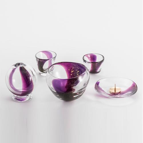 【具足】紫紺 吹きガラス【送料無料】【お仏壇のはせがわ】火立 花立 香炉 湯のみ 仏飯器 お仏壇 仏具
