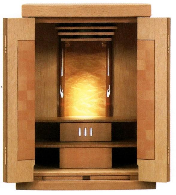 モダン仏壇 上置き型 ソクラテスI 20号 ナラ合掌をイメージした光を放つソクラテス
