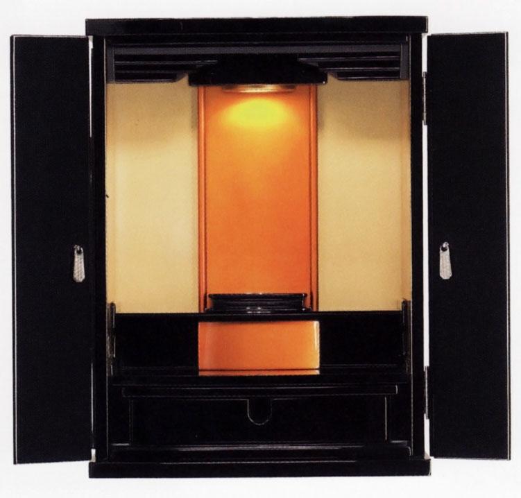 モダン仏壇 上置き型 うぐいすII 13×18号 ブラック漆芸モダン仏壇