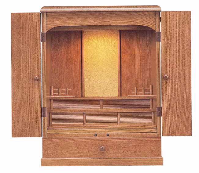 上置き小型仏壇 ミニ仏壇 東海 18号 杢種 オーク色