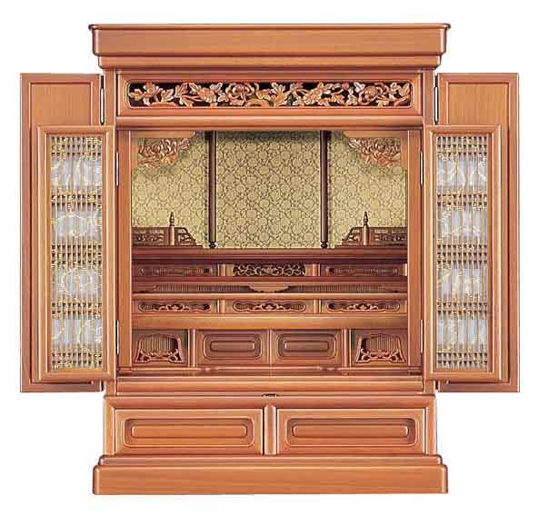 小型仏壇 ミニ仏壇 ゆとり 28号20巾 杢種 桜色・クルミ色