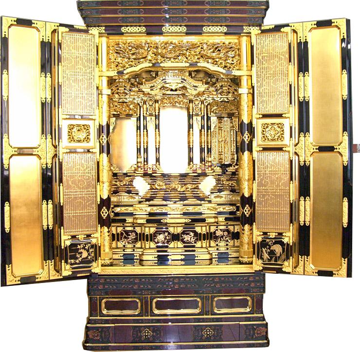 金仏壇・金箔仏壇 床置き型 三河型 段下 御坊屋根 30号仏具Bセット付き 【送料無料】