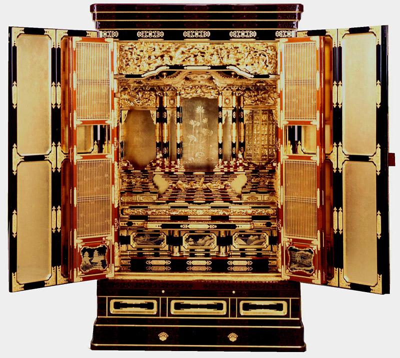 金仏壇・金箔仏壇 床置き型 三河型 段下 御坊屋根 37号仏具Bセット付き 【送料無料】