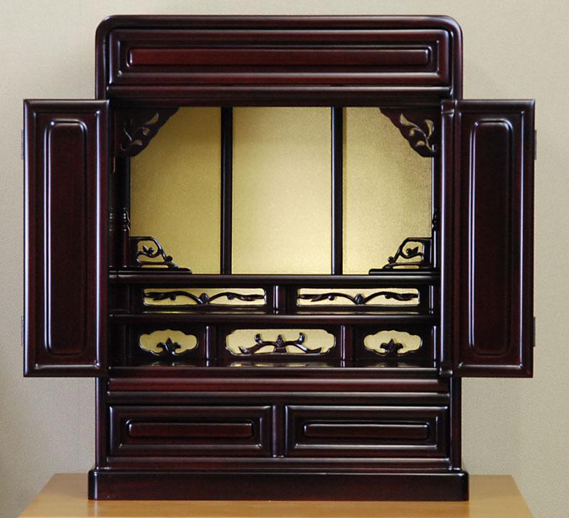 小型仏壇 ミニ仏壇 上置型 16号 国産 木製 さくら2型 16号 高49cm 桜色 日本製 箱段 だるま型 モダン ダーク ワイン色