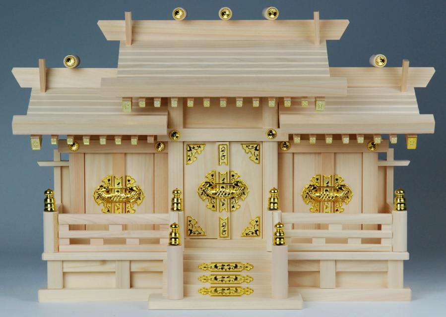 神棚・神具 低屋根違い三社(小 高さ37)ひのき 国産・日本製 【送料無料】