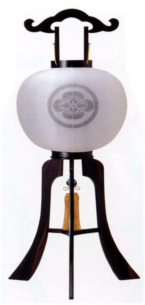 盆提灯 一対 黒檀調 白絹二重張11号【家紋入】 特別奉仕品