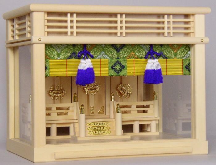神棚・神具セット 神棚セット[神具7点付き] 壁掛できるガラスケース入M-16号 国産・日本製 【送料無料】