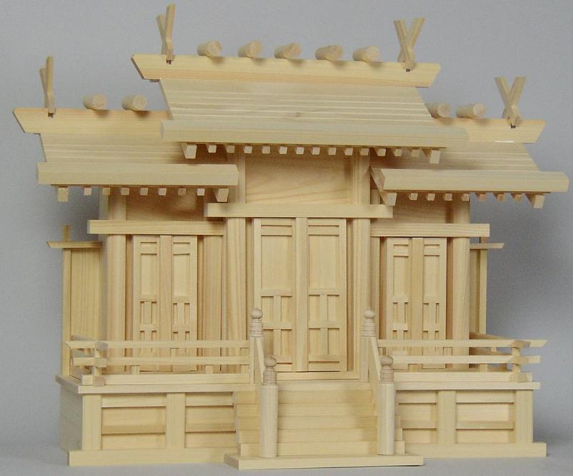 神棚 屋根違い三社(大)唐戸東濃桧製 国産・日本製 【送料無料】