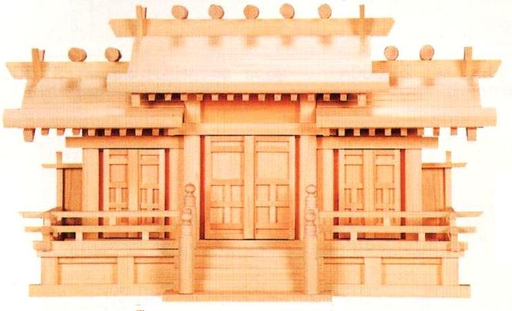 神棚・神具 低屋根 唐戸 三社(大 高40)東濃桧 国産・日本製 【送料無料】