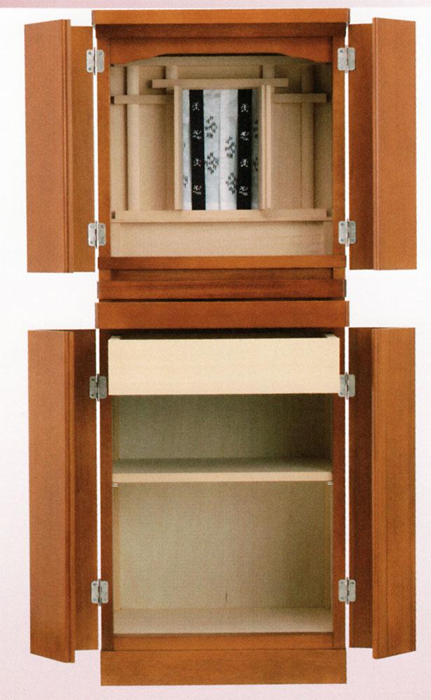 小型で現代的な モダン 祭壇宮 御霊舎 としてお祀り下さい 格安 価格でご提供いたします マンションにおすすめ 小型 オーラル 台付 お気に入 チェリー色 の 四枚戸 祖霊舎
