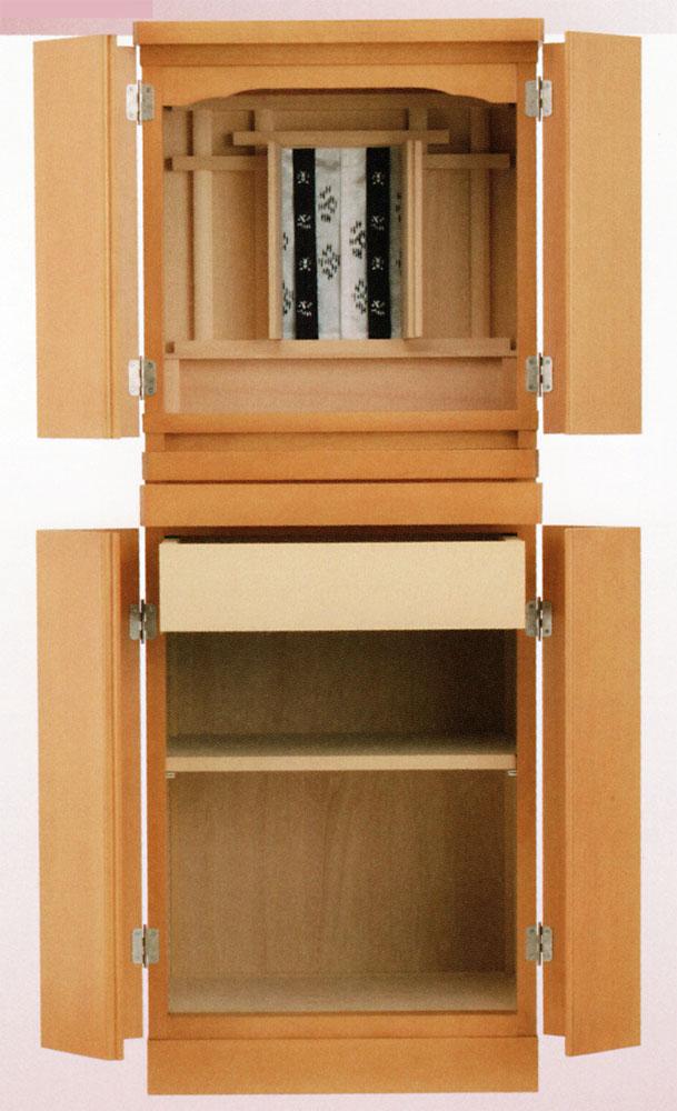 小型 の 祭壇宮 オーラル 四枚戸 台付 (メープル色) 祖霊舎