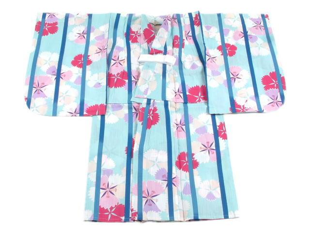 「撫松庵」子供仕立て上がり浴衣縞撫子・青(5~6才)
