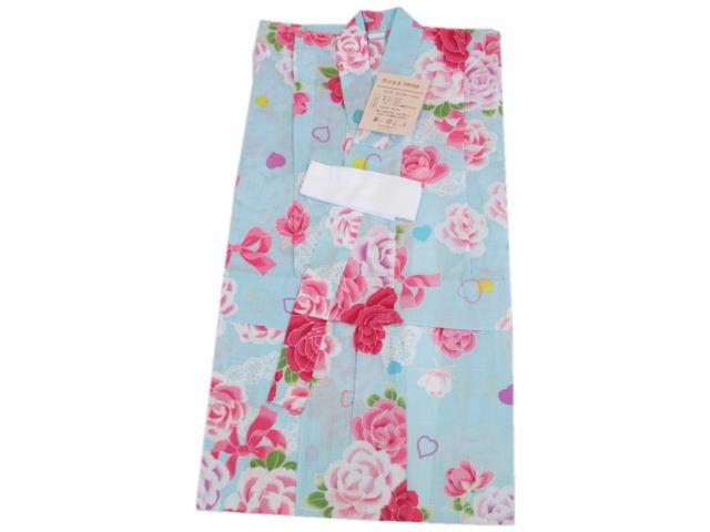 子供浴衣バラ(水色)3~4才