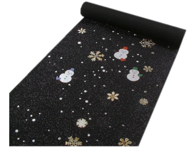 「紫織庵」名古屋帯地雪の結晶と雪ダルマ(黒)
